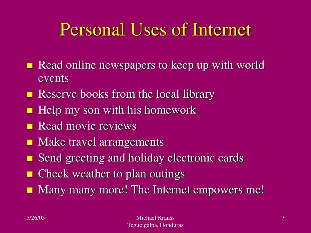 Personal Uses of Internet