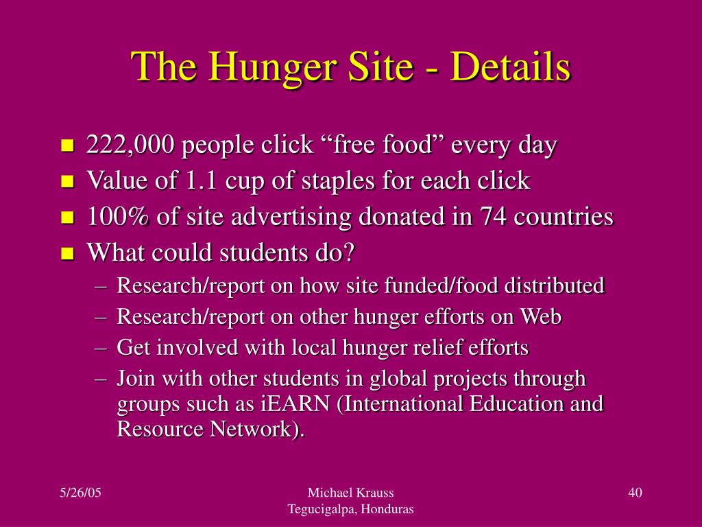 The Hunger Site - Details