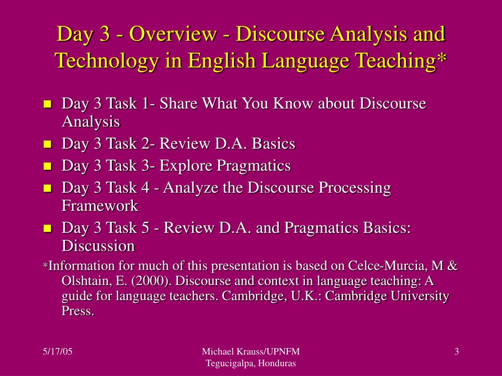 Day 3 - Overview - Discourse Analysis and Technology in English Language Teaching*