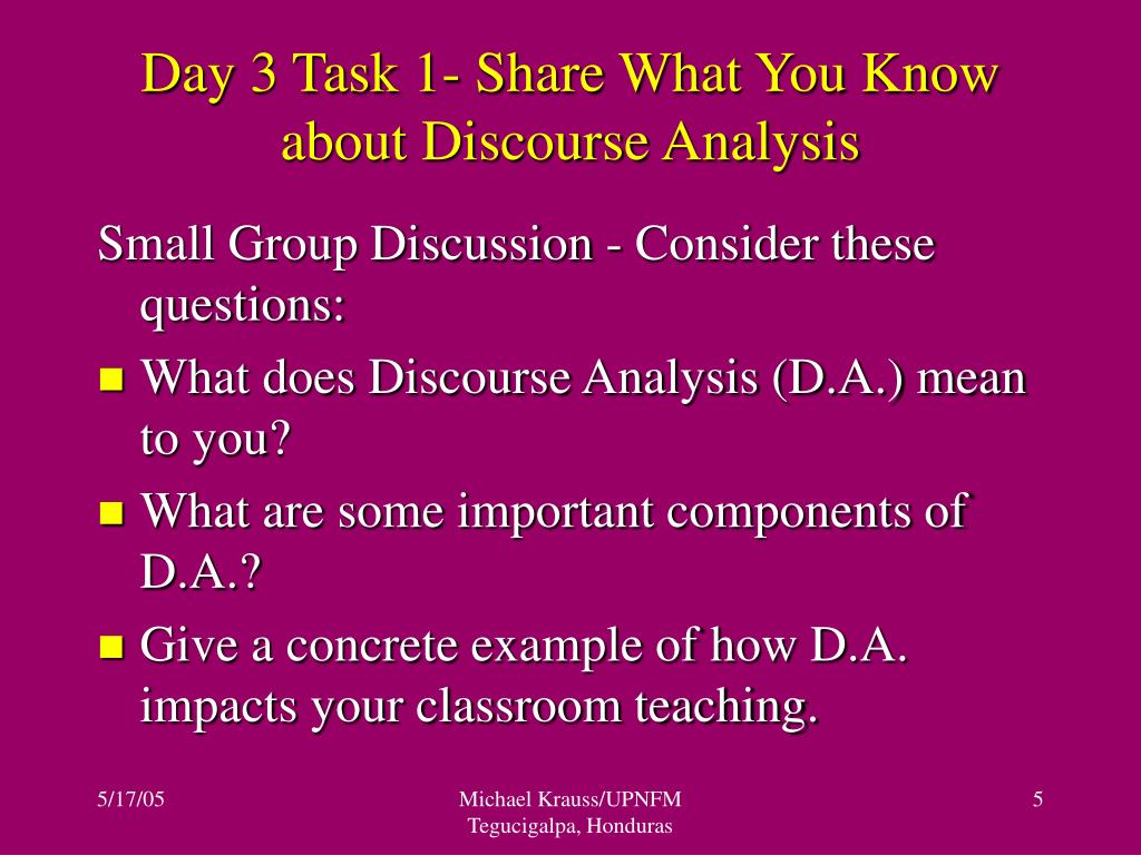 Day 3 Task 1- Share What You Know about Discourse Analysis