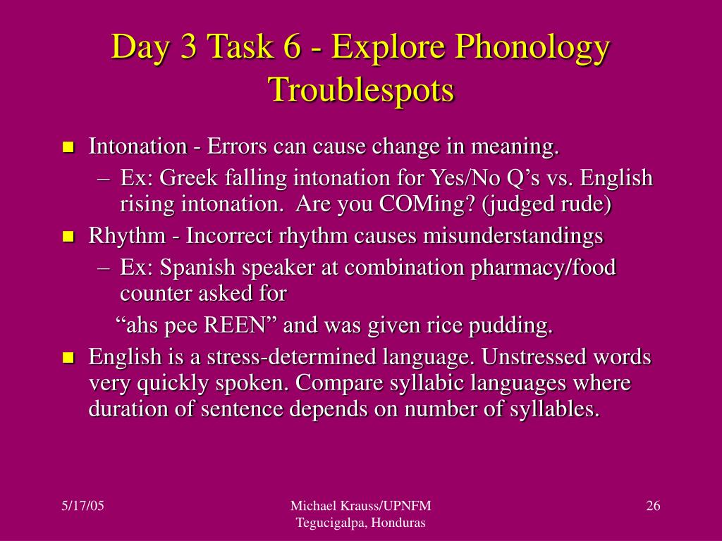 Day 3 Task 6 - Explore Phonology Troublespots