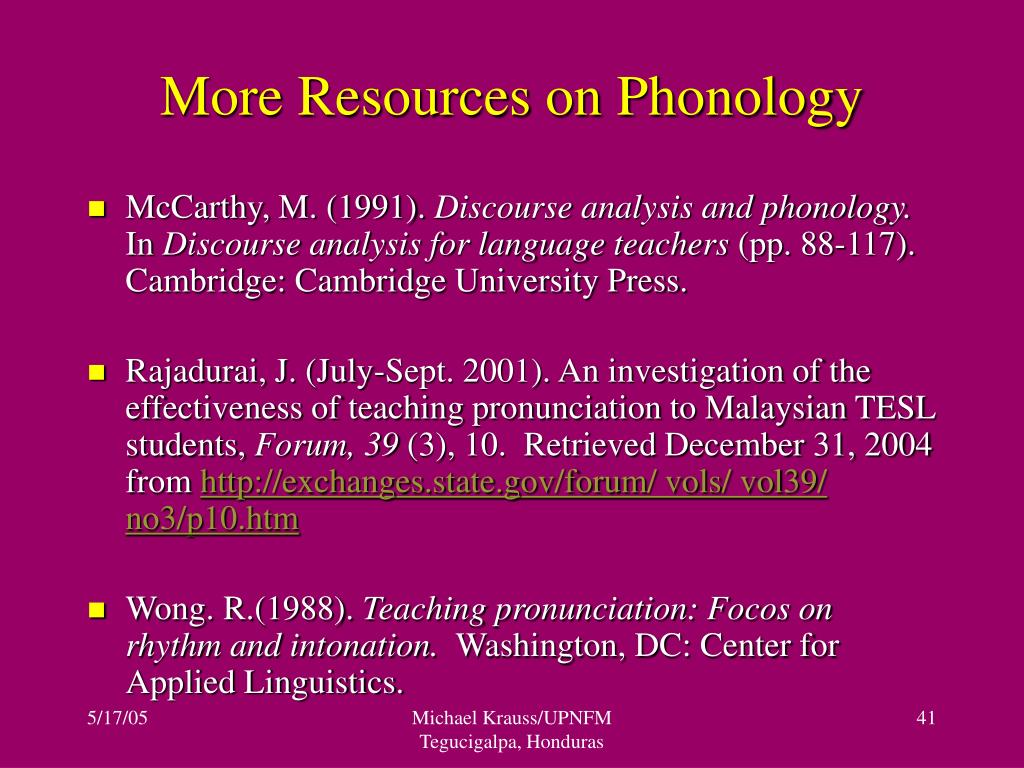 More Resources on Phonology