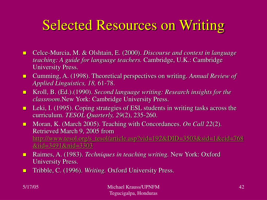 Selected Resources on Writing