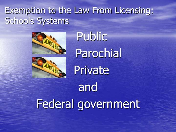 Exemption to the Law From Licensing: