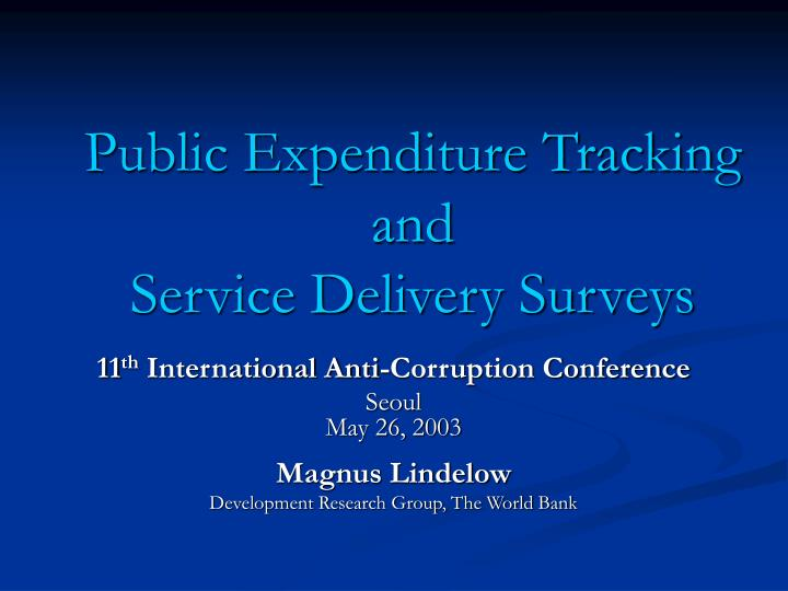 public expenditure tracking and service delivery surveys n.