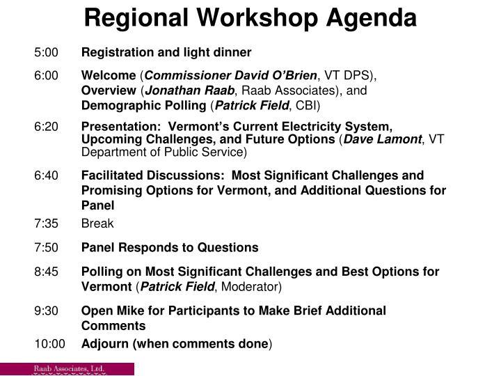 Regional Workshop Agenda