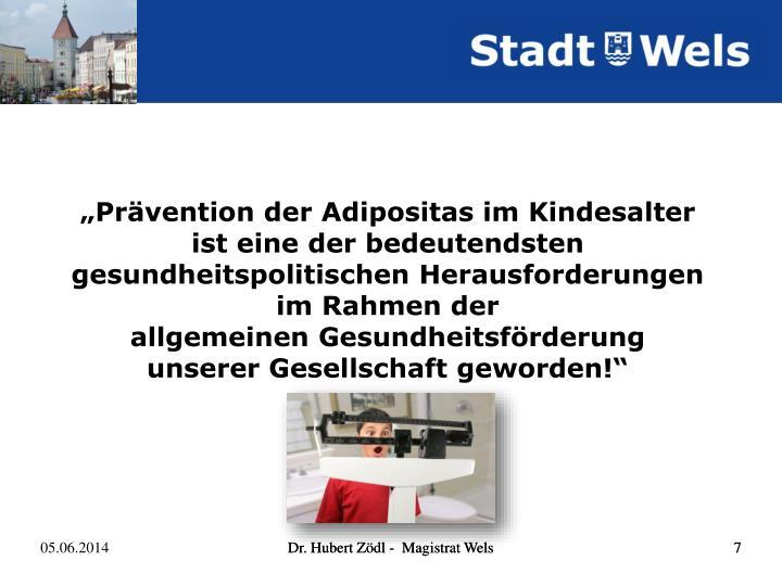 """""""Prävention der Adipositas im Kindesalter"""