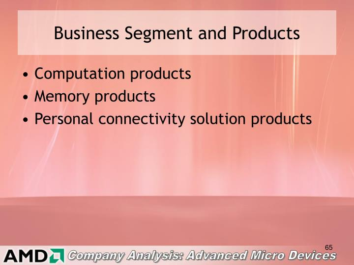 Business Segment and Products