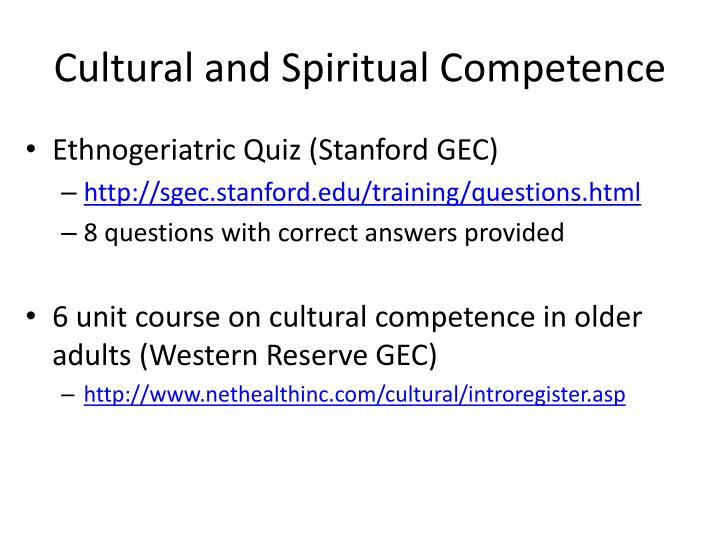 Cultural and Spiritual Competence