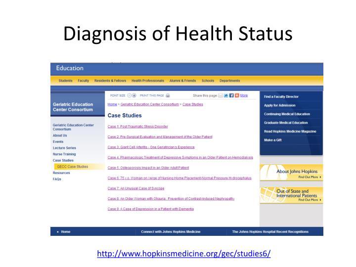 Diagnosis of Health Status