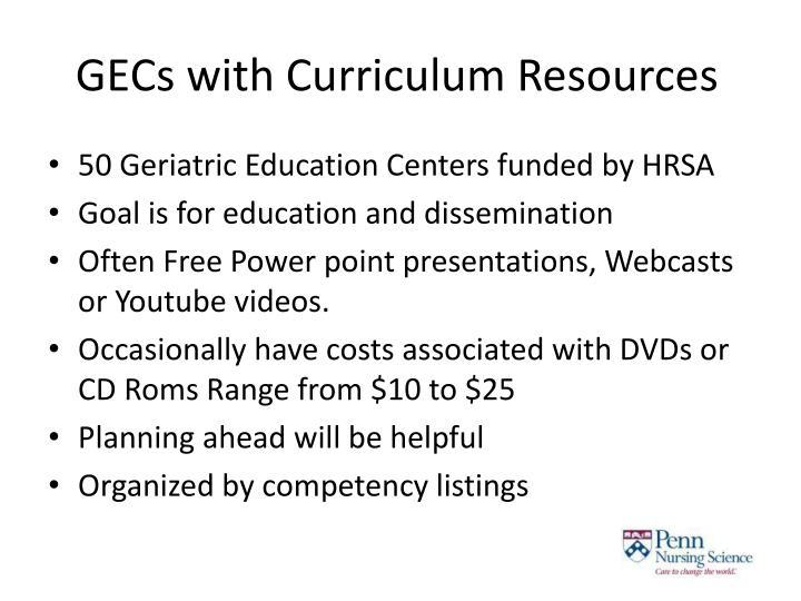Gecs with curriculum resources