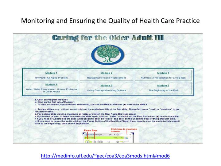 Monitoring and Ensuring the Quality of Health Care Practice