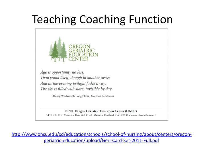 Teaching Coaching Function