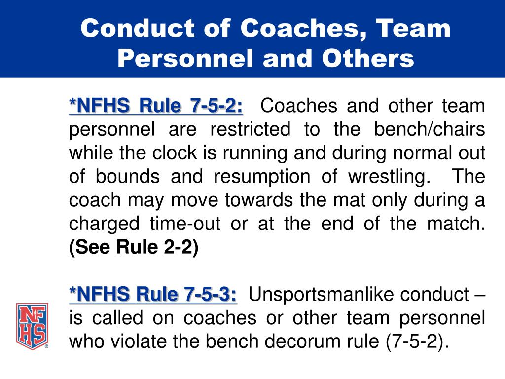 Conduct of Coaches, Team Personnel and Others