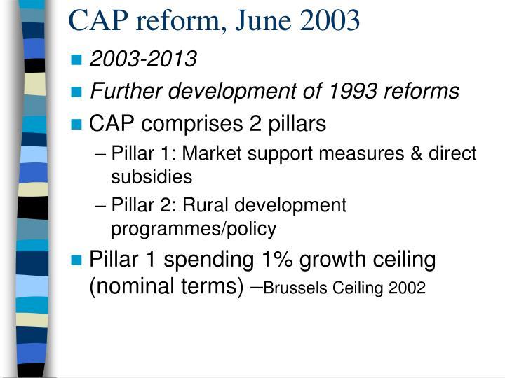 CAP reform, June 2003