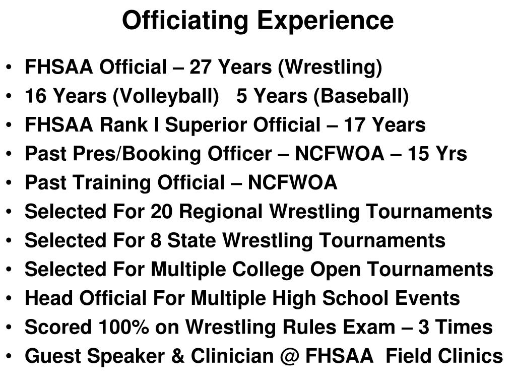 Officiating Experience