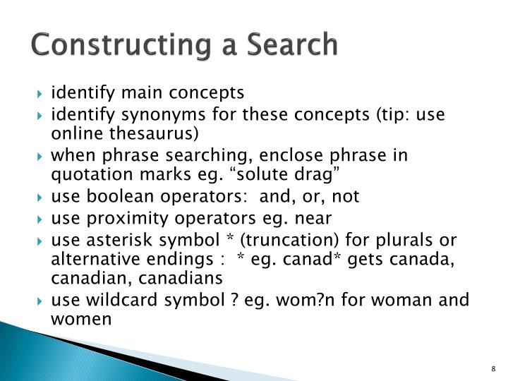Constructing a Search