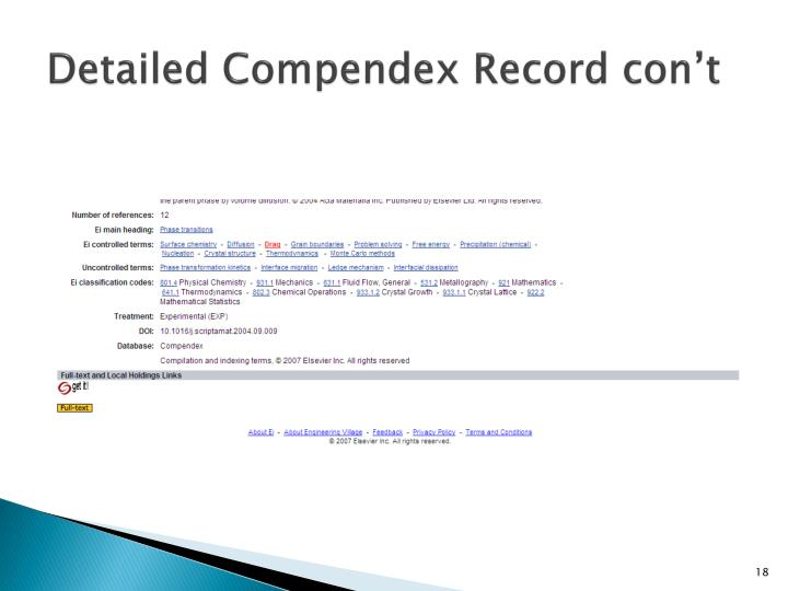 Detailed Compendex Record
