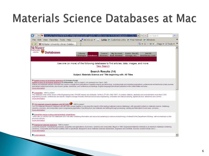 Materials Science Databases at Mac