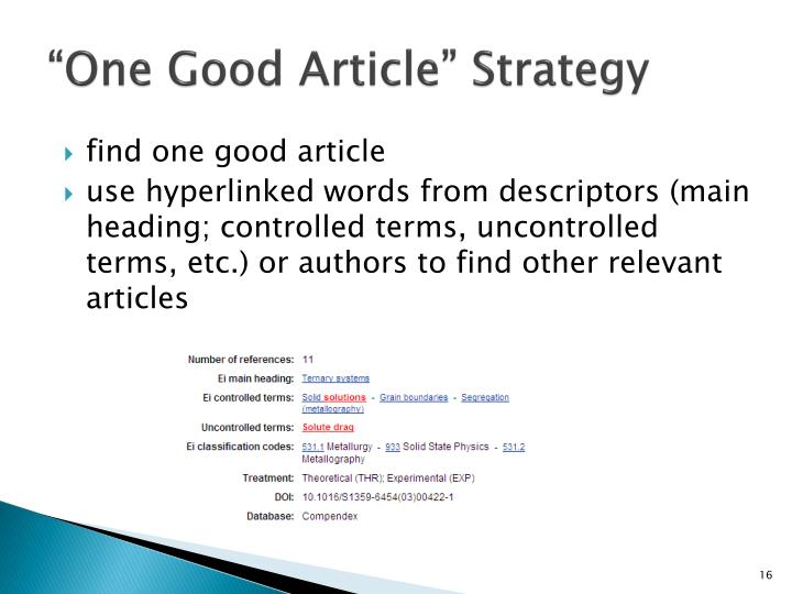"""One Good Article"" Strategy"