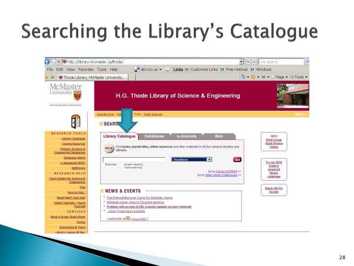 Searching the Library's Catalogue