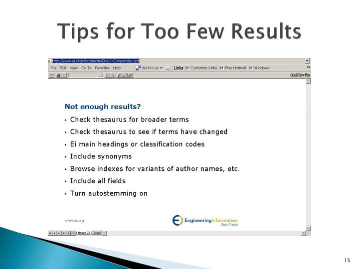 Tips for Too Few Results