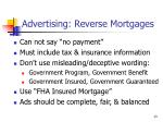 advertising reverse mortgages