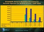 ecuador malaria morbidity according to parasite species in all risk areas 1998 2004