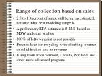 range of collection based on sales