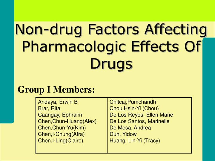 non drug factors affecting pharmacologic effects of drugs n.