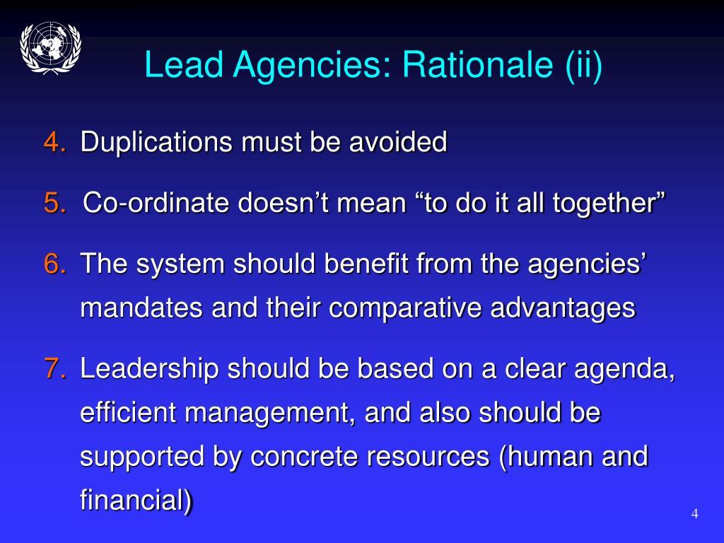 Lead Agencies: Rationale (ii)