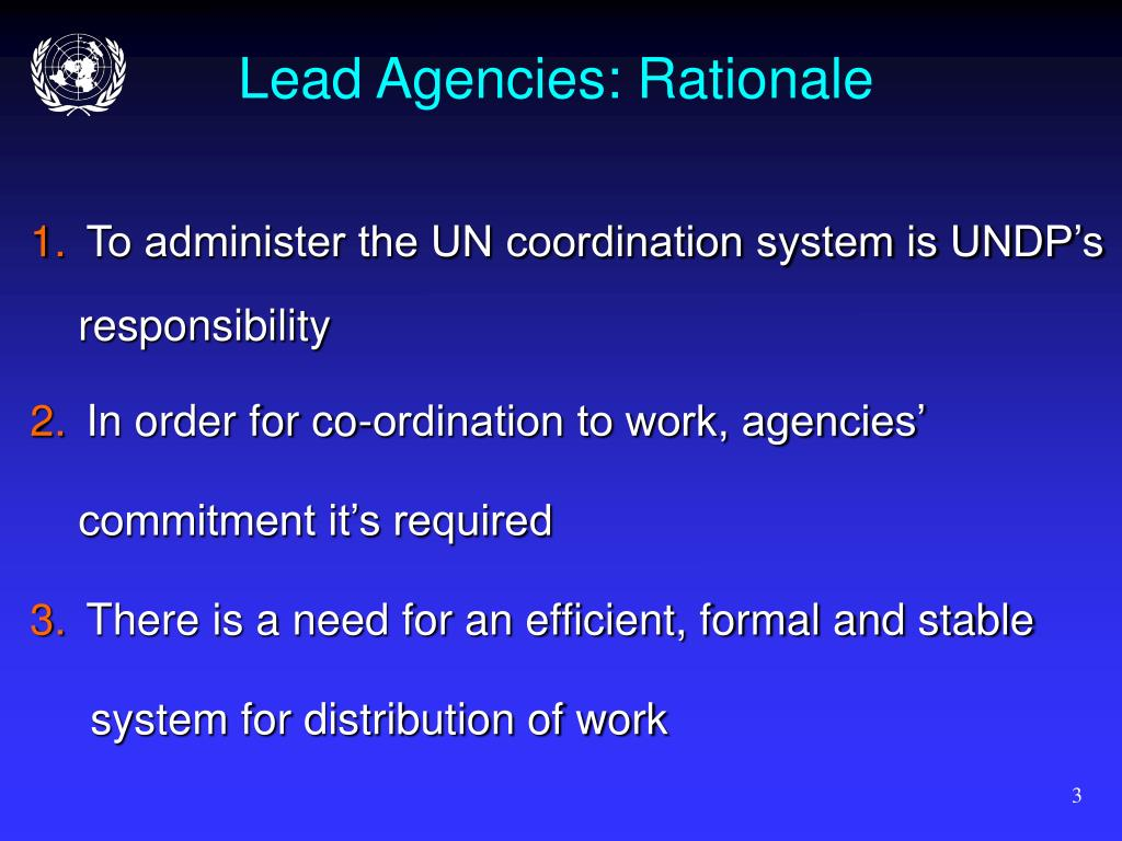 Lead Agencies: Rationale