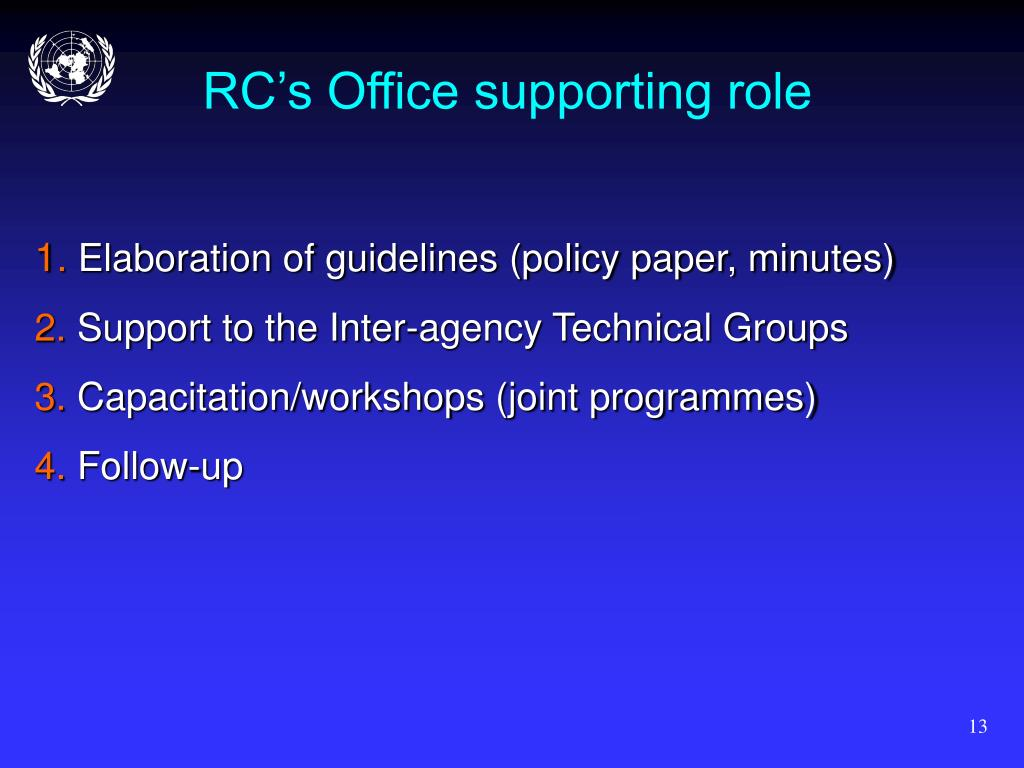 RC's Office supporting role