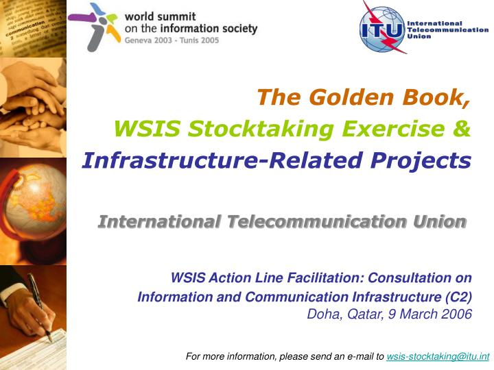 The golden book wsis stocktaking exercise infrastructure related projects