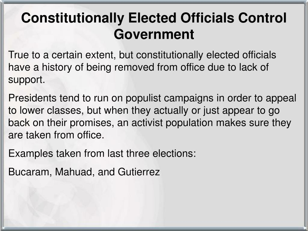 Constitutionally Elected Officials Control Government