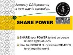 amnesty can presents a new way to campaign share power