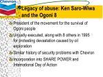 legacy of abuse ken saro wiwa and the ogoni 8