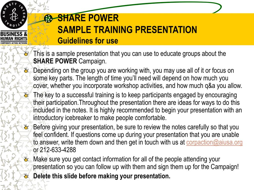 share power sample training presentation guidelines for use l.