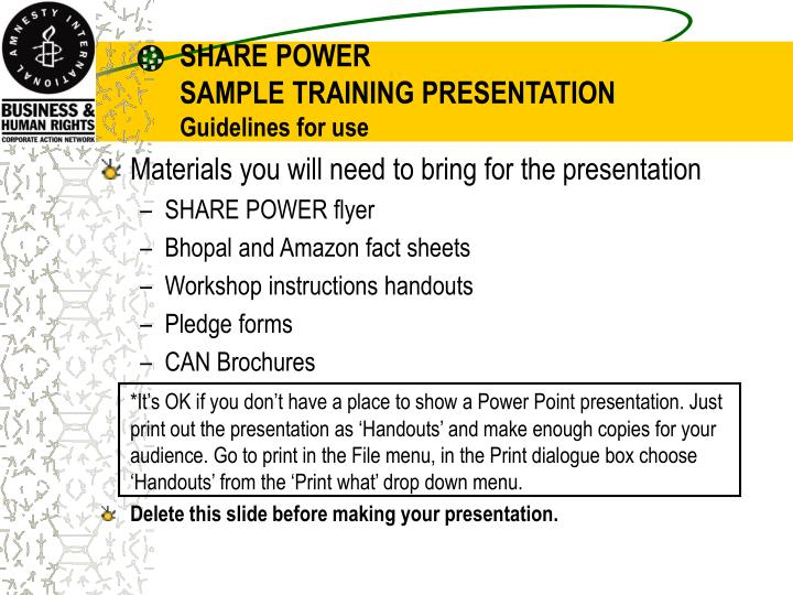 Share power sample training presentation guidelines for use2