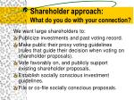 shareholder approach what do you do with your connection