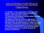 educating for peace objectives