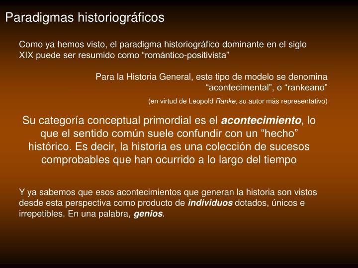 Paradigmas historiográficos