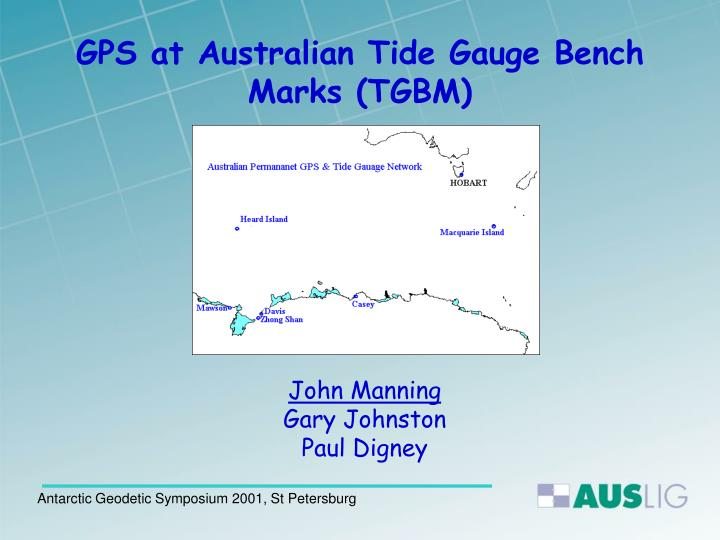 gps at australian tide gauge bench marks tgbm n.