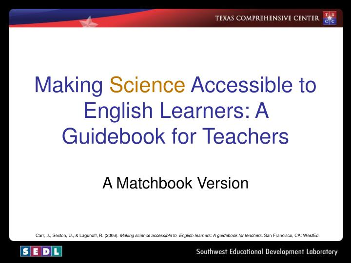making science accessible to english learners a guidebook for teachers n.