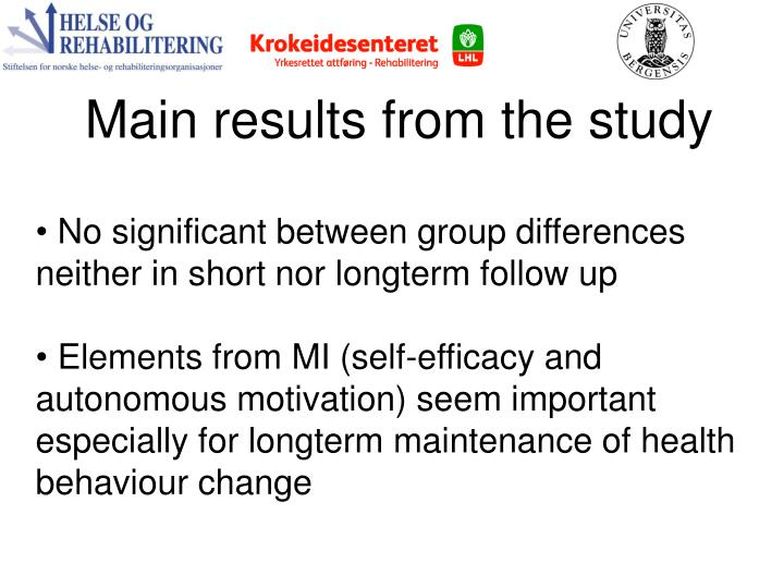 Main results from the study