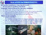role of itu in tdr ets ews