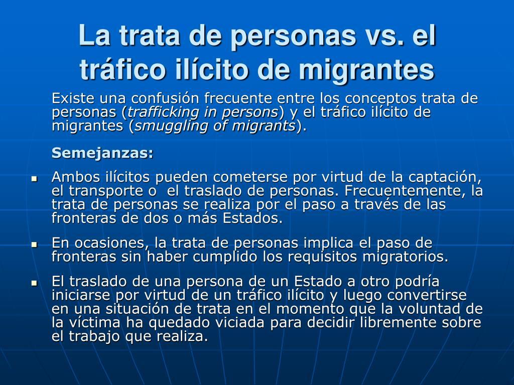 La trata de personas vs. el tráfico ilícito de migrantes
