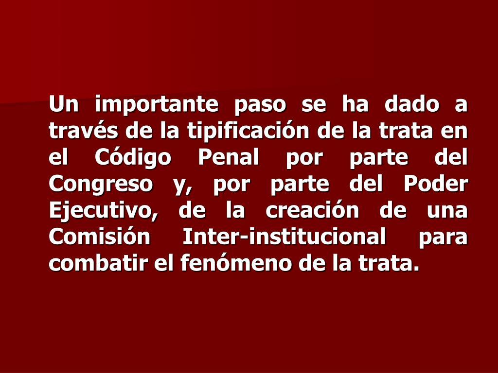 Un importante paso se ha dado a través de la tipificación de la trata en el Código Penal por parte del Congreso y, por parte del Poder Ejecutivo, de la creación de una Comisión Inter-institucional para combatir el fenómeno de la trata.
