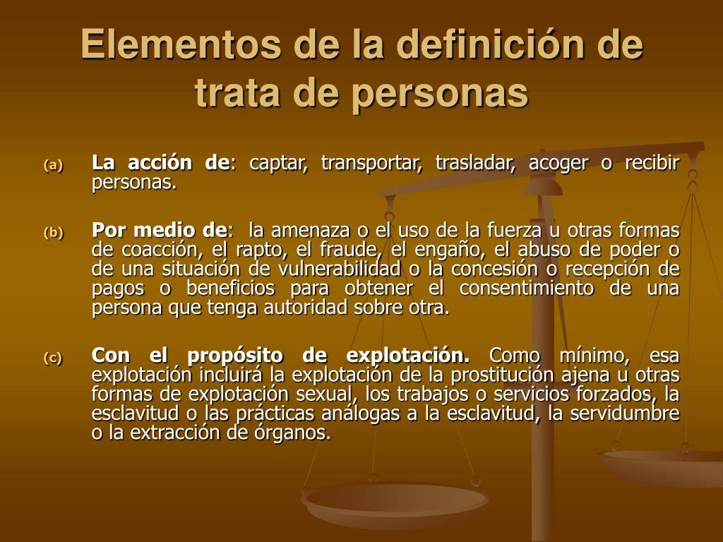 Elementos de la definición de trata de personas