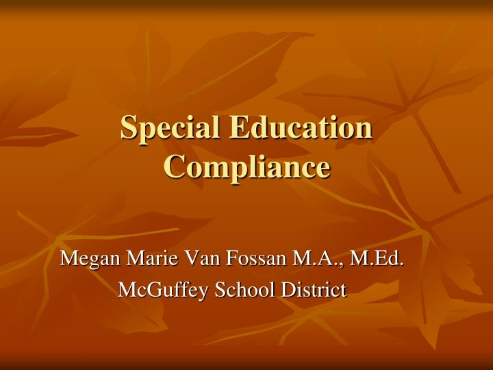 special education compliance n.